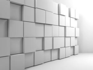 Abstract white digital interior, wall installation of random extrudes cubes in empty room. 3d render illustration